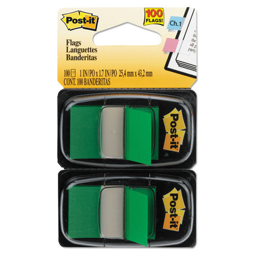 3M Flags, Green, 1 in Wide, 50/Dispenser, 2 Dispensers/Pack MMM680GN2, Green (UPC:021200690921)