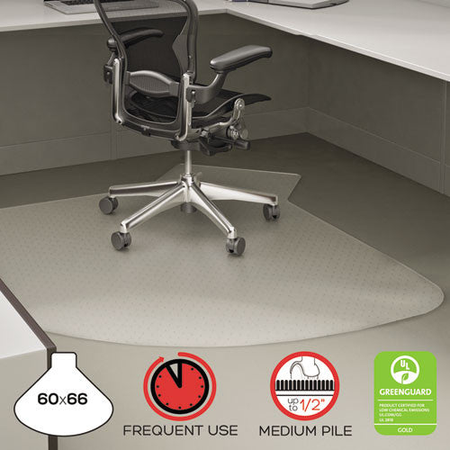 "Deflecto SuperMat 60"" x 66"" L-Workstation w/lip Medium Pile DEFCM14003K, Clear (UPC:079916064703)"
