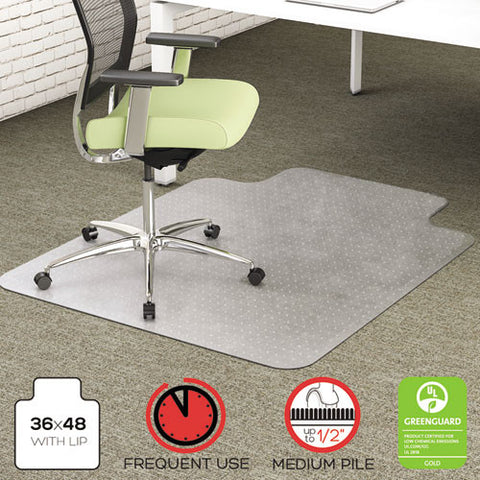 Deflecto EnvironMat Low Pile Chair Mat with Lip DEFCM1K112PET, Clear (UPC:079916027180)