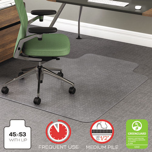 deflecto RollaMat Frequent Use Chairmat for Medium Pile Carpeting DEFCM15113, Clear (UPC:079916060507)