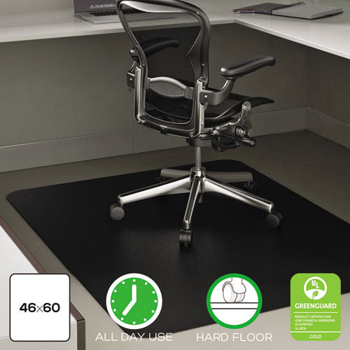 "Deflecto Black Mat 45"" x 53"" Rectangle-Hard Floor DEFCM21242BLK, Black (UPC:079916025100)"