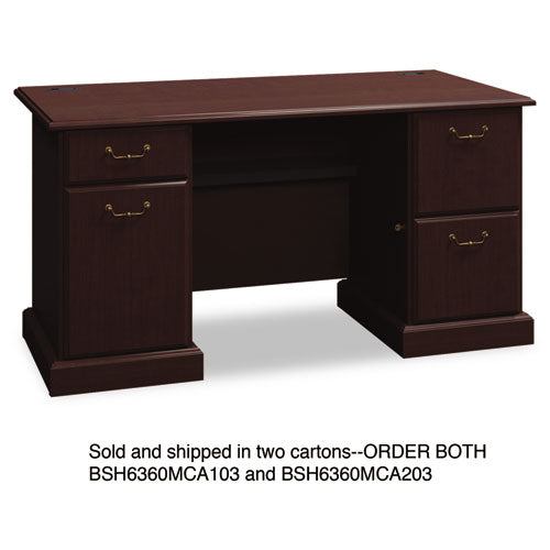 Bush Syndicate 60W Double Pedestal Desk Box 1 of 2 BSH6360MCA103, Cherry (UPC:042976636005) ; Image 1