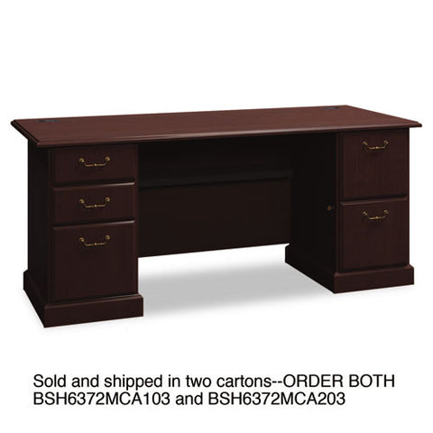 Bush Syndicate 72W Double Pedestal Desk Box 1 of 2 BSH6372MCA103, Cherry (UPC:042976637200)