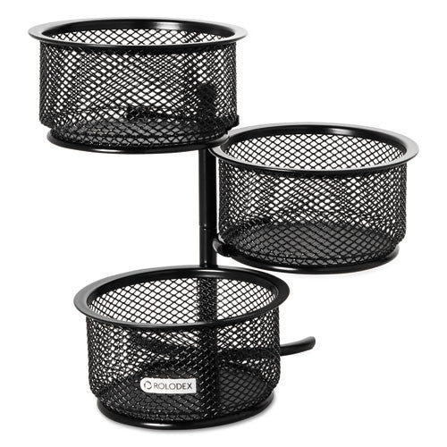 Sanford Expressions Wire Mesh 3-Tier Swivel Tower ROL62533, Black (UPC:030402625334)