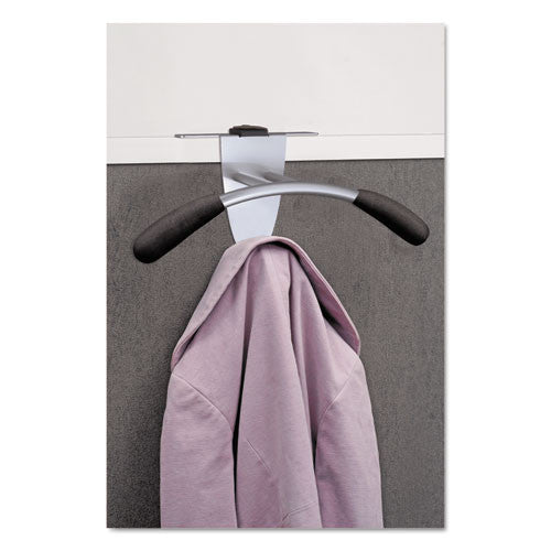 Alba Over-the-panel Coat Hook ; (129710010243); Color:Silver Gray Holder,Black Peg