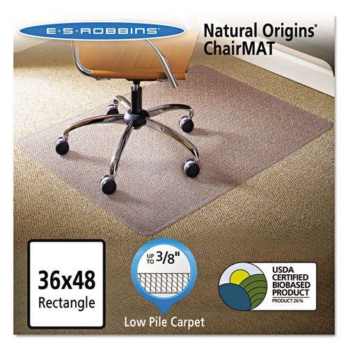 ES Robbins Natural Origins Low Carpet Chairmat ESR141028, Clear (UPC:012544014962)