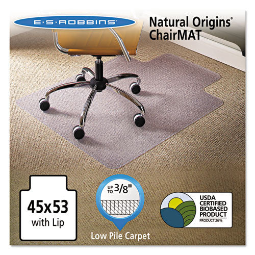 ES Robbins Gen7V Natural Origins Chairmat with Lip ESR141042, Clear (UPC:012544010803)