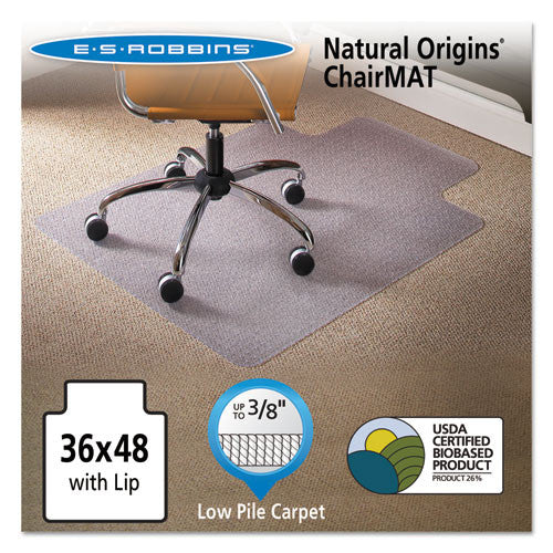 ES Robbins Gen7V Natural Origins Chairmat with Lip ESR141032, Clear (UPC:012544010797)