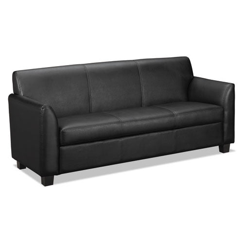 HON Circulate Tailored Three-Cushion Sofa | Black SofThread Leather ; UPC: 641128040211 ; Image 1