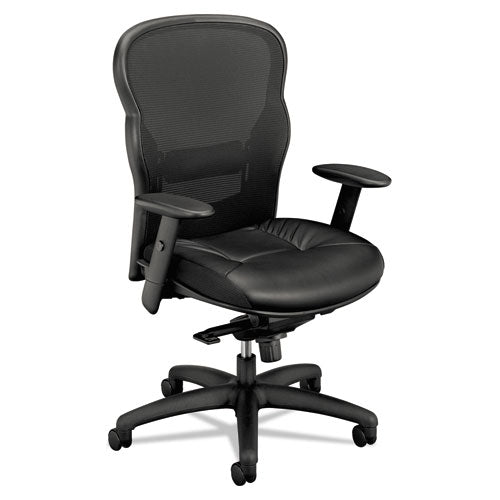 HON Wave Mesh High-Back Task Chair | Knee-Tilt, Tension, Lock | Adjustable Arms | SofThread Leather ; UPC: 089192290093 ; Image 1