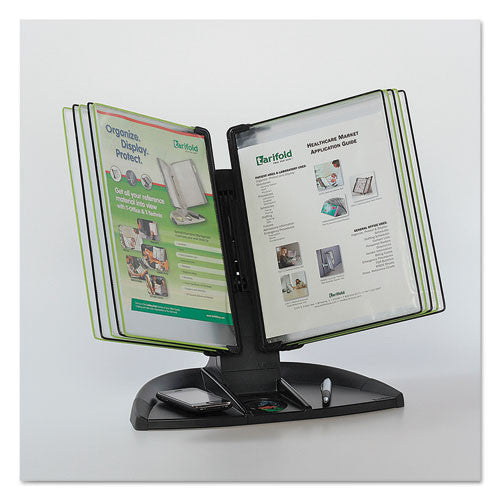 Tarifold Black Line Desk Set, Black/Green Pockets TFITDBL291, Black (UPC:672644559109)