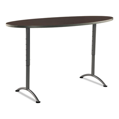 Iceberg Arc Adjustable Height Table 36X72 Oval, Walnut ICE69624, Walnut (UPC:674785696248)