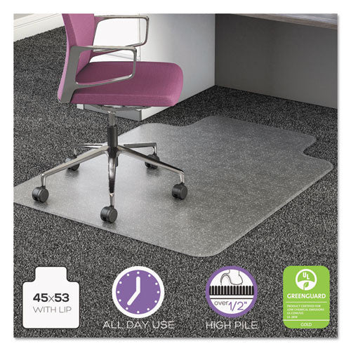 Deflecto UltraMat High Pile Chair Mat with Lip DEFCM16233, Clear (UPC:079916060613)