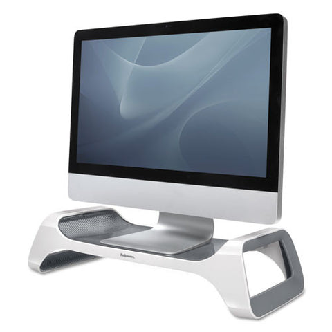 Fellowes I-Spire Series Monitor Lift in Silver/Black shown with Monitor ; UPC: 043859659128