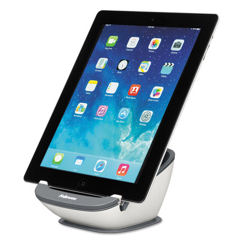 Fellowes I-Spire Series Tablet SuctionStand in white/gray shown with Tablet ; UPC: 043859677986