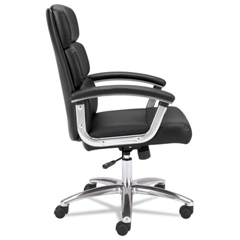 HON Traction High-Back Executive Chair | Center-Tilt, Tension, Lock | Fixed Arms | Polished Aluminum Base | Black SofThread Leather ; UPC: 191734940660 ; Image 2