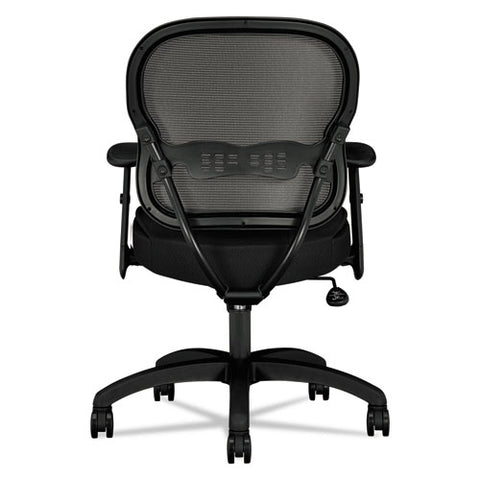 HON Wave Mesh Mid-Back Chair, Adjustable Arms, Black Sandwich Mesh ; UPC: 631530562852; Image 2