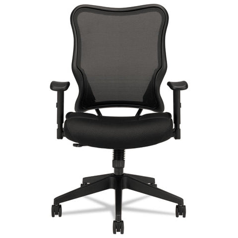 HON Wave Mesh High-Back Task Chair | Synchro-Tilt, Tension, Lock | Adjustable Arms | Black Mesh Back | Black Sandwich Mesh Seat ; UPC: 641128199216 ; Image 2