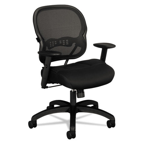 HON Wave Mesh Mid-Back Chair | Synchro-Tilt, Tension, Lock | Adjustable Arms | Black Mesh Back | Black Sandwich Mesh Seat ; UPC: 089191207764 ; Image 1
