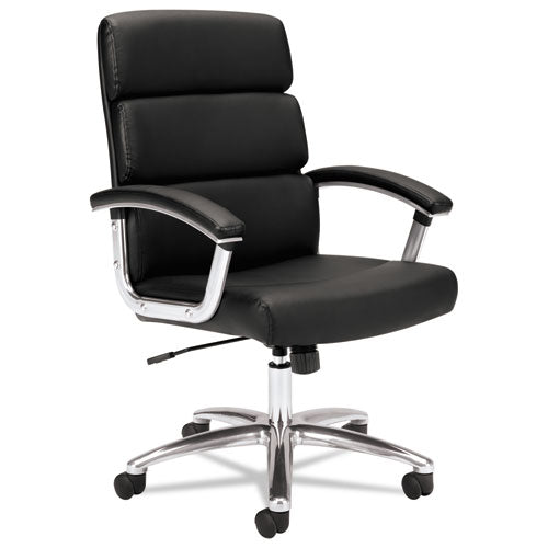 HON Traction High-Back Executive Chair | Center-Tilt, Tension, Lock | Fixed Arms | Polished Aluminum Base | Black SofThread Leather ; UPC: 191734940660 ; Image 1