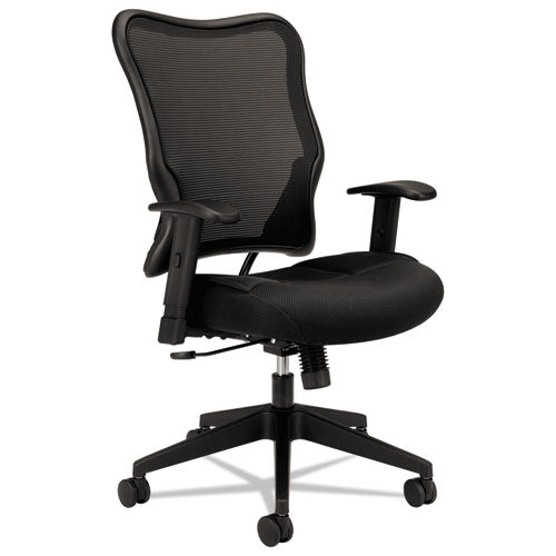 HON Wave Mesh High-Back Task Chair | Synchro-Tilt, Tension, Lock | Adjustable Arms | Black Mesh Back | Black Sandwich Mesh Seat ; UPC: 641128199216 ; Image 1