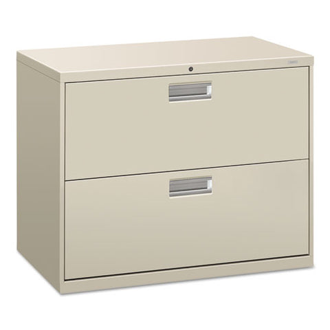 "HON Brigade 600 Series Lateral File | 2 Drawers | Polished Aluminum Pull | 36""W x 19-1/4""D x 28-3/8""H 