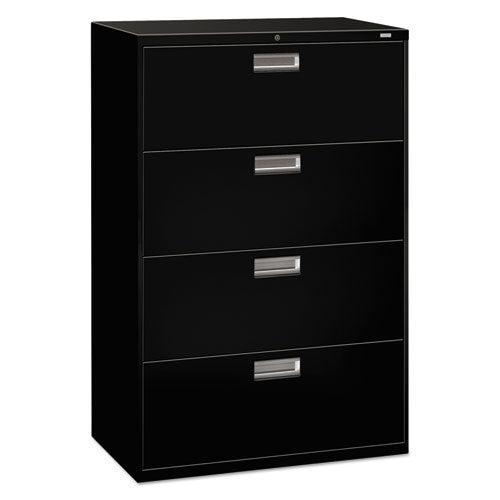 "HON Brigade 600 Series Lateral File, 4 Drawers, 36""W, Black Finish ; UPC: 089192063086"