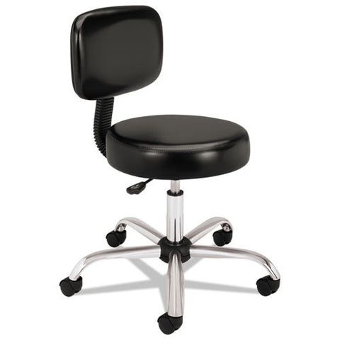HON Medical Stool with Back in Black ; UPC: 089191227847