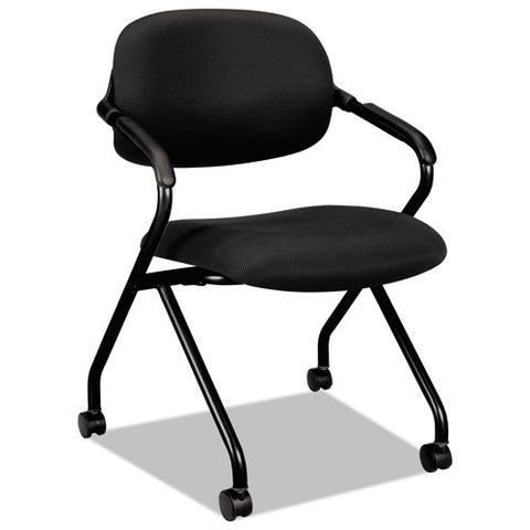HON Floating Back Nesting Chair | Casters | Fixed Arms | Black Frame | Black Fabric | 1 per Carton ; UPC: 881728407803 ; Image 1