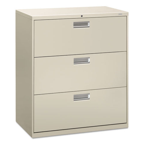 "HON Brigade 600 Series Lateral File | 3 Drawers | Polished Aluminum Pull | 36""W x 19-1/4""D x 40-7/8""H 