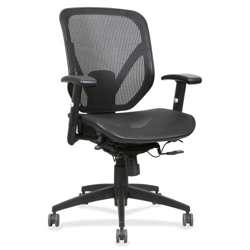 Lorell Mesh Seat/Back Mid-back Chair LLR40203, Black (UPC:035255402033)