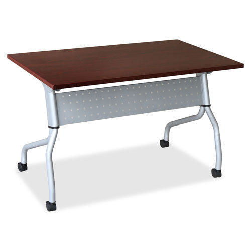 Lorell Mahogany Flip Top Training Table LLR60717, Mahogany (UPC:035255607179)