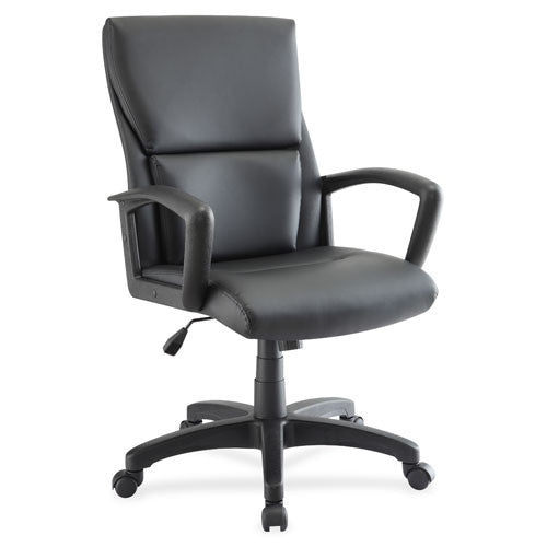 Lorell Euro Design Leather Exec. Mid-back Chair LLR84570, Black (UPC:035255845700)