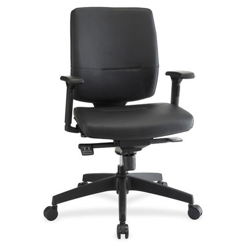 Lorell Adj. Arms Leather Exec. Mid-back Chair LLR84581, Black (UPC:035255845816)