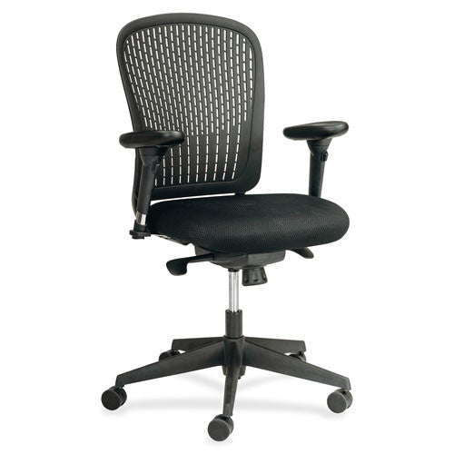Safco Adjustable Arms Black Fabric Task Chair SAF7063BL, Black (UPC:073555706321)