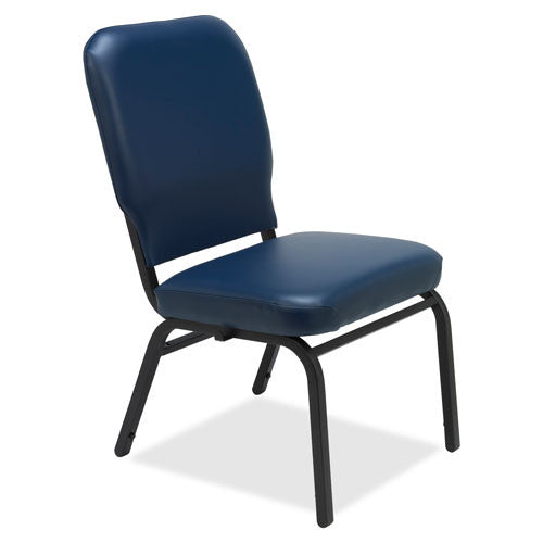 Lorell Vinyl Back/Seat Oversized Stack Chairs LLR59595, Blue (UPC:035255595957)