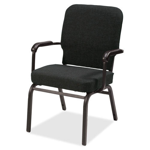 Lorell Fixed Arms Fabric Oversized Stack Chairs LLR59601, Black (UPC:035255596015)