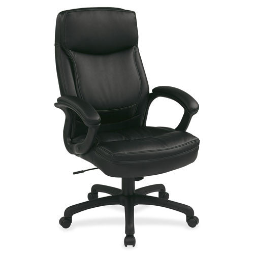 Office Star WorkSmart EC6583 Executive High Back Chair with Match Stitching OSPEC6583EC3J, Black (UPC:090234171560)