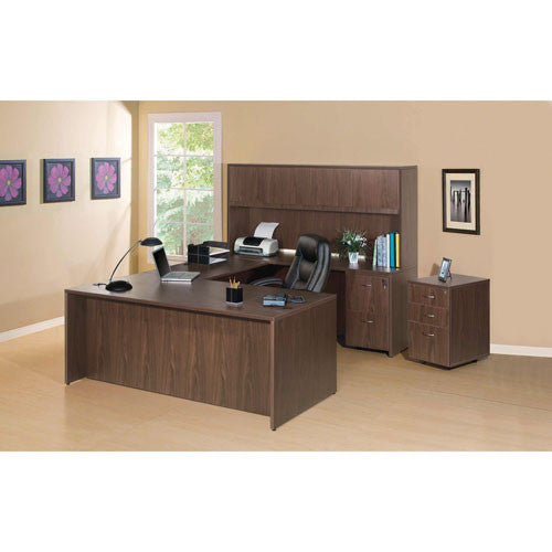 Lorell Walnut Laminate Office credenza in full suite setting, LLR69971, Walnut (UPC:035255699716)