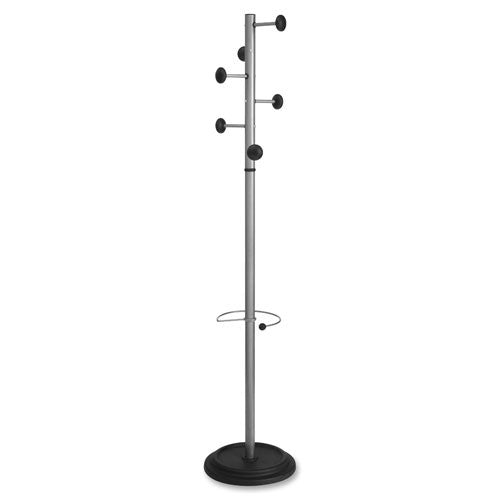 Lorell 6' Modern-style Umbrella/Coat Rack ; (035255025867); Color:Silver