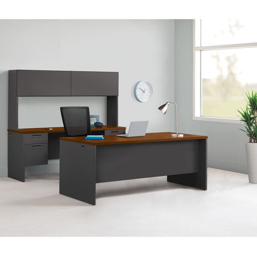 Lorell Cherry/Charcoal Pedestal Credenza in office setting LLR97118, Cherry (UPC:035255971188)