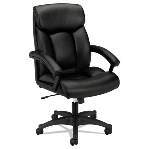 HON High-Back Executive Chair | Center-Tilt, Tension, Lock | Fixed Arms | Black SofThread Leather ; Image 1