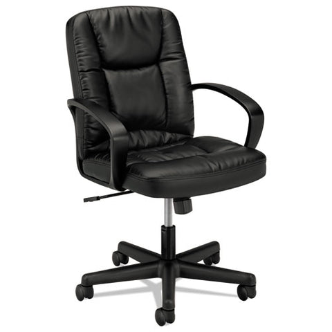 HON Mid-Back Executive Chair | Center-Tilt, Tension, Lock | Fixed Arms | Black SofThread Leather ; UPC: 888852693232 ; Image 1