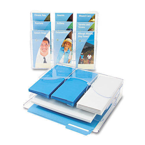 Deflecto Three Tier Document Organizer with Dividers DEF47631, Clear (UPC:079916476315)
