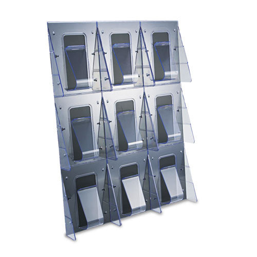 Deflecto 9-Pocket Wall Mount Literature Rack DEF56801, Clear (UPC:079916568010)