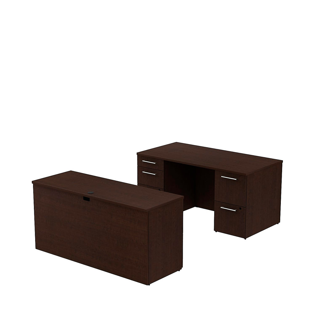 Bush Business Furniture 300 Series 60W x 30D Double Pedestal Desk with 60W Credenza in Mocha Cherry ; UPC: 042976525859 ; Image 1