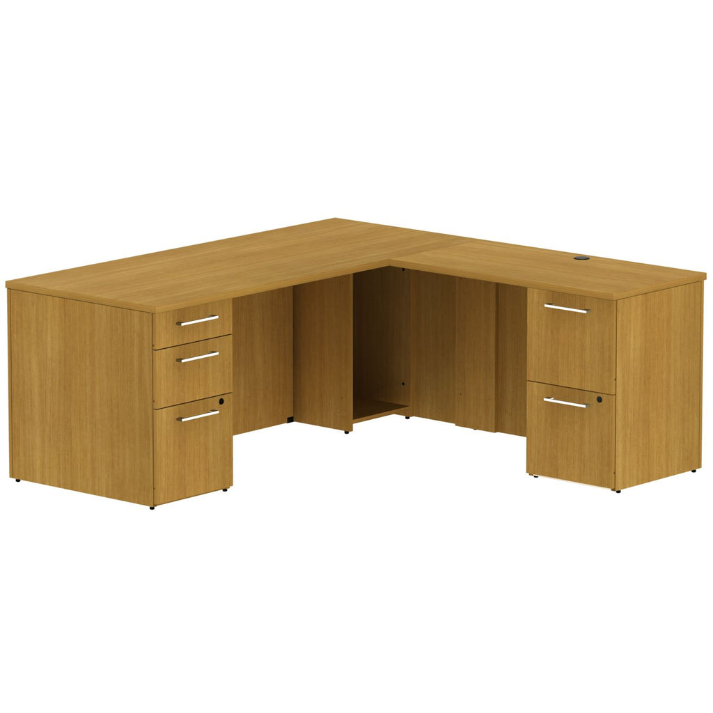 Bush Business Furniture 300 Series 72W x 30D Single Pedestal Desk in L-Configuration with 2 Drawer Pedestal in Modern Cherry ; UPC: 042976525873 ; Image 1