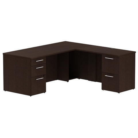 Bush Business Furniture 300 Series 72W x 30D Single Pedestal Desk in L-Configuration with 2 Drawer Pedestal in Mocha Cherry ; UPC: 042976525880 ; Image 1