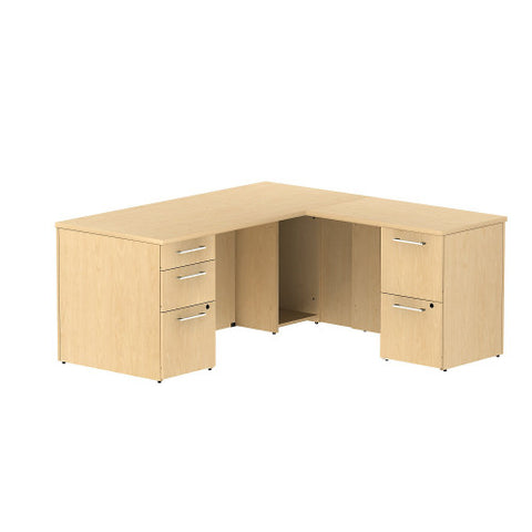 Bush Business Furniture 300 Series 66W x 30D Single Pedestal Desk in L-Configuration with 2 Drawer Pedestal in Natural Maple ; UPC: 042976525897 ; Image 1