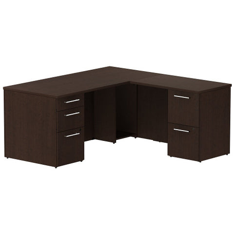 Bush Business Furniture 300 Series 66W x 30D Single Pedestal Desk in L-Configuration with 2 Drawer Pedestal in Mocha Cherry ; UPC: 042976525910 ; Image 1